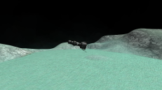 Minmus flats. Distant Object renders one of the planets in the background. Note that Ankou I had its own claw in case the orbital rendezvous got sticky!